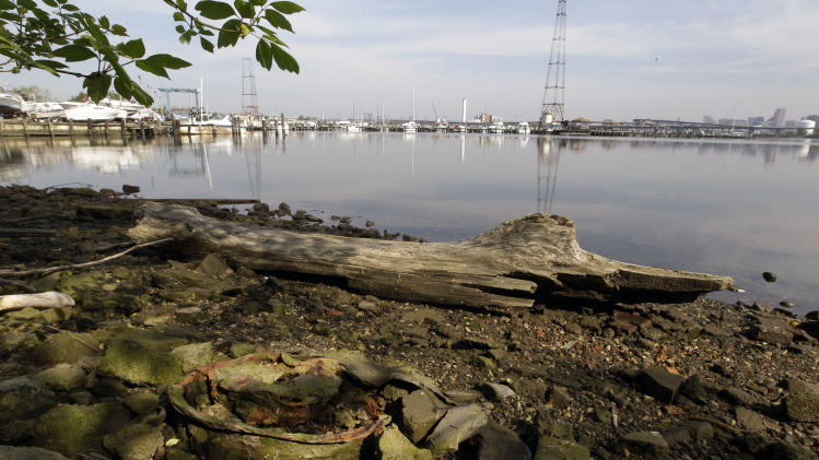 "This photo taken April 16, 2012, shows remnants of a tire and rim along the shoreline of the Middle Branch of the Patapsco River in Baltimore, Md. This archival image was taken for the ""Documerica"" program, begun in 1972 by the new Environmental Protection Agency, to document subjects of environmental concern. (AP Photo/Patrick Semansky)"