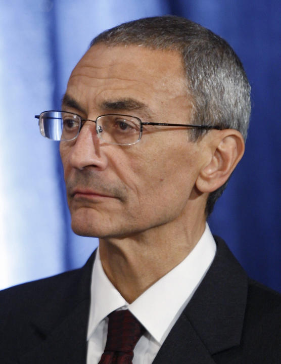 File photo of Podesta, then co-chairman of U.S. President-elect Obama's transition team, attending a news conference in Chicago