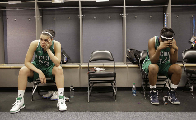 Notre Dame guard Kayla McBride (23) and Notre Dame forward Markisha Wright (34) sit in the locker room after the NCAA Women's Final Four college basketball championship game against Baylor in Denver, Tuesday, April 3, 2012. Baylor won the championship 80-61.(AP Photo/Julie Jacobson)