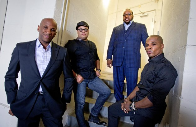 In this June 11, 2012 photo, gospel singers Donnie McClurkin, from left, Israel Houghton, Marvin Sapp and Kirk Franklin, are photographed backstage before taping a television show in Atlanta. There is a lot riding on the expanding brand of gospel music through the upcoming King's Men concert tour featuring Franklin, Sapp, McClurkin and Houghton. The King's Men concert series will be the first gospel tour backed by Live Nation Inc., the world's largest concert promoter. It's also the first step toward proving that the genre can broaden its fan base and become a lucrative business for the promotional company. (AP Photo/David Goldman)