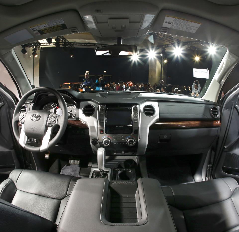 The interior of the redesigned 2014 Toyota Tundra is unveiled at the Chicago Auto Show Thursday, Feb. 7, 2013, in Chicago. (AP Photo/Charles Rex Arbogast)