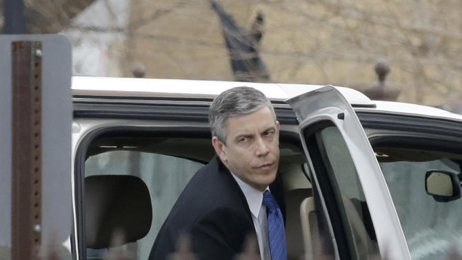 Education Secretary Arne Duncan arrives for the funeral of Hadiya Pendleton at the Greater Harvest Missionary Baptist Church Saturday, Feb. 9, 2013, in Chicago. The shooting death of the 15-year-old honor student has drawn attention to the staggering gun violence in the nation's third-largest city. (AP Photo/Nam Y. Huh)