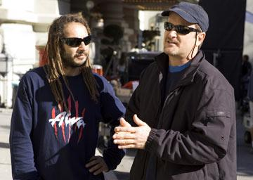 "Original ""Z-Boys"" Tony Alva and Stacy Peralta on the set of Columbia Pictures' Lords of Dogtown"