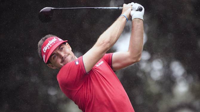 Keegan Bradley tees off on the sixth hole during the final round of the World Challenge golf tournament at Sherwood Country Club in Thousand Oaks, Calif., Saturday, Dec. 2, 2012. (AP Photo/Bret Hartman)