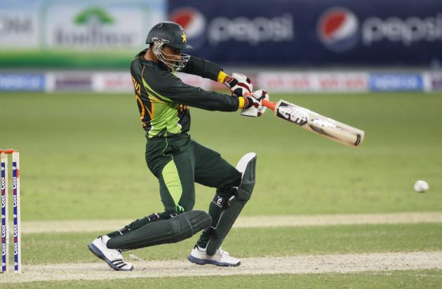 Pakistan's Abdul Razzaq plays a shot during their first Twenty20 international cricket match against South Africa in Dubai