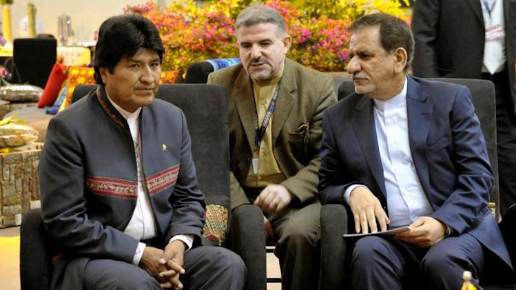 The President of Bolivia and President pro tempore of the G77 + China, Evo Morales (L) and Iran's Vice President Eshaq Jahangiri during the G77+China Summit in Santa Cruz, Bolivia, on June 14, 2014