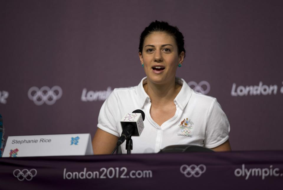Australian swimmer Stephanie Rice speaks during a news conference at the Main Press Center ahead of the 2012 Summer Olympics, Monday, July 23, 2012, in London. (AP Photo/Matt Dunham)