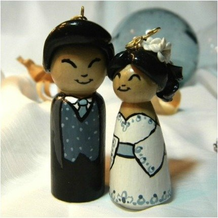 Blue Wedding Couple Ornaments