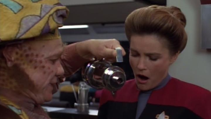 Capt. Janeway cosplayer anticipating real coffee aboard International Space Station