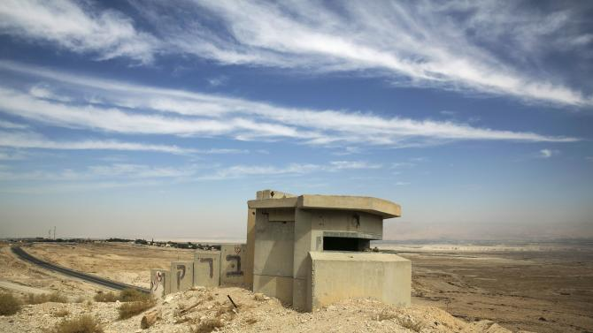 An Israeli guard post is seen near Jericho near the border between Israel and Jordan in the Jordan Valley