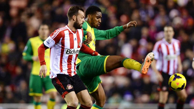 Sunderland's Steven Fletcher challenges Norwich City's Leroy Fer during their English Premier League soccer match in Sunderland