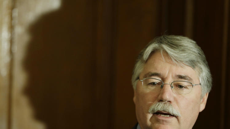 Indiana Attorney General Greg Zoeller speak during a  news conference at the Statehouse Thursday, Dec. 20, 2012, in Indianapolis. Zoeller announced the details of the distribution of the $6 million in supplemental relief to victims of the Indiana State Fair stage collapse. (AP Photo/Darron Cummings)