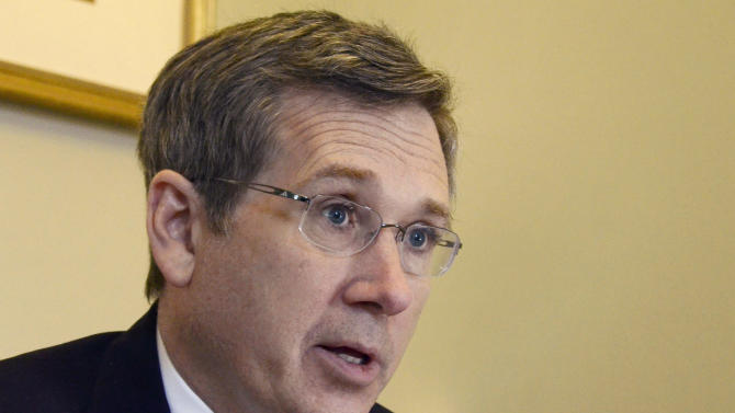 FILE - In this Dec. 18, 2012 file photo, Republican U.S. Sen. Mark Kirk of Illinois speaks about his recovery from a major stroke a year ago at his home in Highland Park, Ill. In a post on his blog Tuesday, April 2, 2013, Kirk said that he supports same-sex marriage. (AP Photo/Daily Herald, Bill Zars, File) MANDATORY CREDIT, MAGS OUT, TV OUT