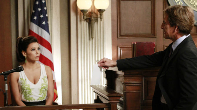 """In this publicity image released by ABC, Eva Longoria, left, and Scott Bakula are shown in a scene from the series finale of """"Desperate Housewives,"""" that was aired Sunday, May 13, 2012 at 9:00p.m. EST on ABC. (AP Photo/ABC, Ron Tom)"""