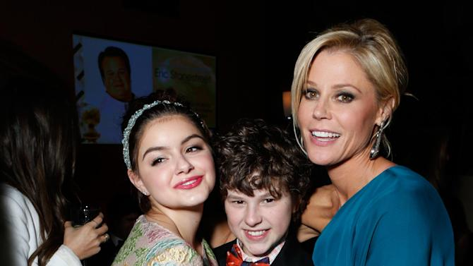 From left, actors Ariel Winter, Nolan Gould and Julie Bowen attend the Fox Golden Globes Party on Sunday, January 13, 2013, in Beverly Hills, Calif. (Photo by Todd Williamson/Invision for Fox Searchlight/AP Images)