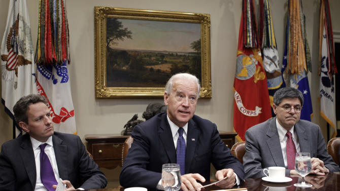 In this photo taken Dec. 3, 2010, Vice President Joe Biden makes a statement to reporters during a meeting with Treasury Secretary Timothy Geithner and Office of Management and Budget Director Jack Lew in the Roosevelt Room of the White House on tax policy negotiations on Capitol Hill. Biden is to begin leading a series of bipartisan talks this week in May 2011 on reducing the debt. The Gang of Six, three Republican and three Democrat senators, who want to to trim federal deficits with benefit cuts and higher taxes, wants its plan to be part of the discussion. (AP Photo/Charles Dharapak, File)