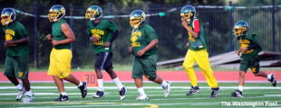 Springarn football player Jawahn Preston at a team practice