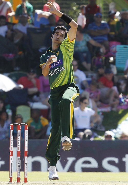 Pakistan's Umar Akmal makes a delivery during their One day International cricket match against South Africa in Bloemfontein