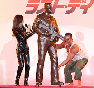 Bruce Willis Immortalized with Chocolate 'Die Hard' Statue in Japan