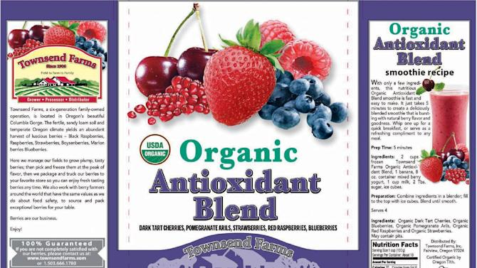 This handout image provided by the Food and Drug Administration (FDA) shows the label of Townsend Farms of Fairview, Ore., Organic Antioxidant Blend, packaged under the Townsend Farms label at Costco and under the Harris Teeter brand at those stores. The Oregon company is recalling a frozen berry mix sold to Costco and Harris Teeter stores after the product was linked to at least 34 hepatitis A illnesses in five states. (AP/FDA)