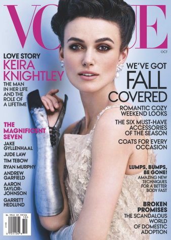 This cover image released by Vogue shows actress Keira Knightley on the cover of the October issue of &quot;Vogue.&quot; The October issue of Vogue goes on sale nationwide Sept. 25. (AP Photo/Vogue)