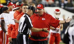 Chiefs' Reid argues a call with an official during their NFL football game with the Eagles in Philadelphia