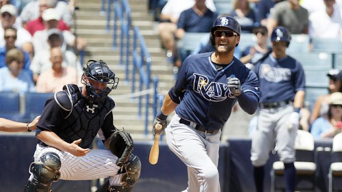 Tampa Bay Rays Kevin Kiermaier (39) hits a foul ball during the Spring training game against the New York Yankees in Tampa on Wednesday, April 1, 2015.  (AP Photo/Tampa Bay Times/Eve Edelheit)  TAMPA OUT; CITRUS COUNTY OUT; PORT CHARLOTTE OUT; BROOKSVILLE HERNANDO TODAY OUT
