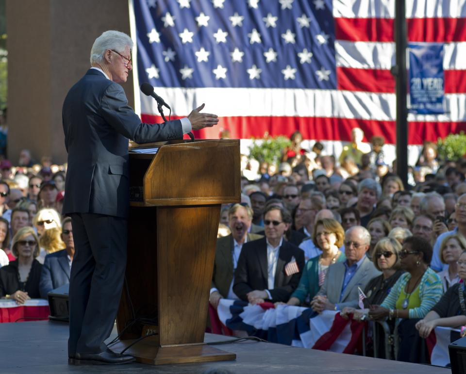 Former President Bill Clinton addresses a crowd at celebration of the 20th anniversary of his announcement to run for President Saturday, Oct. 1, 2011 in Little Rock, Ark. (AP Photo/Brian Chilson)
