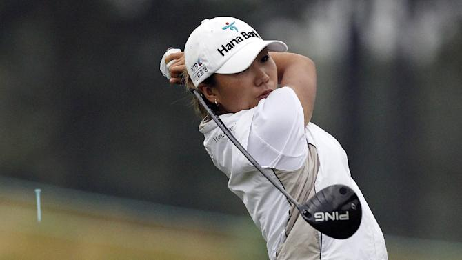 I.K. Kim, of South Korea, tees off on the 11th hole during the second round of the U.S. Women's Open golf tournament at the Sebonack Golf Club Friday, June 28, 2013, in Southampton, N.Y. (AP Photo/Frank Franklin II)