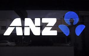 The logo of ANZ is pictured on a local branch in Sydney