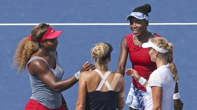 Serena has ankle re-taped in US Open doubles loss