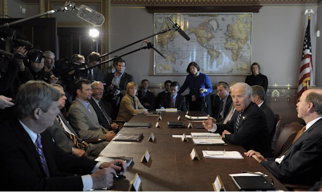 President Joe Biden gestures as he speaks during a meeting with Sportsmen and Women and Wildlife Interest Groups and member of his cabinet, Thursday, Jan. 10, 2013,  in the Eisenhower Executive Office