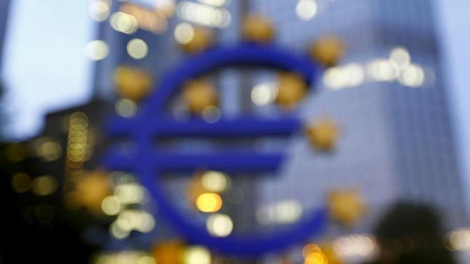 The euro sign landmark is seen outside the headquarters of the European Central Bank (ECB) in Frankfurt