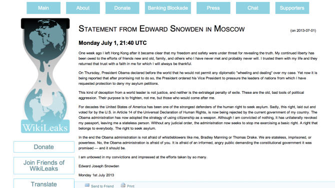 This screenshot made of the Wikileaks website shows a letter identified as being from NSA leaker Edward Snowden on Monday, July 1, 2013. The letter could not be independently authenticated as being from Snowden himself. Wikileaks is the anti-secrecy group that has adopted Snowden and his cause. (AP Photo/Wikileaks)