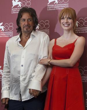 Actor Al Pacino and actress Jessica Chastain pose during a photo call for the movie Wilde Salome at the 68th edition of the Venice Film Festival in Venice, Italy, Sunday, Sept. 4, 2011. (AP Photo/Domenico Stinellis)