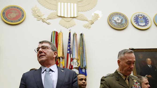 U.S. Defense Secretary Carter and Joint Chiefs Chairman Marine Corps General Dunford Jr., arrive to testify before House Armed Services Committee in Washington