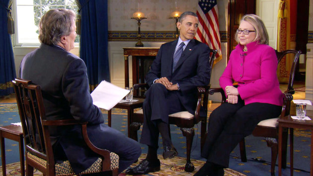 "FILE - In this Jan. 25, 2013 file image taken from video and provided by CBS, President Barack Obama, center, and Secretary of State Hillary Rodham Clinton speak with ""60 Minutes"" correspondent Steve Kroft, left, in the Blue Room of the White House in Washington. The interview will air Sunday, Jan. 27 during the ""60 Minutes"" telecast on CBS. (AP Photo/CBS, File)"