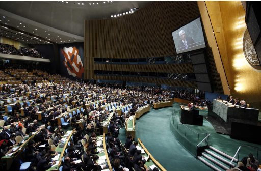 Palestinian President Mahmoud Abbas addresses the United Nations Generally Assembly at UN Headquarters, in New York,