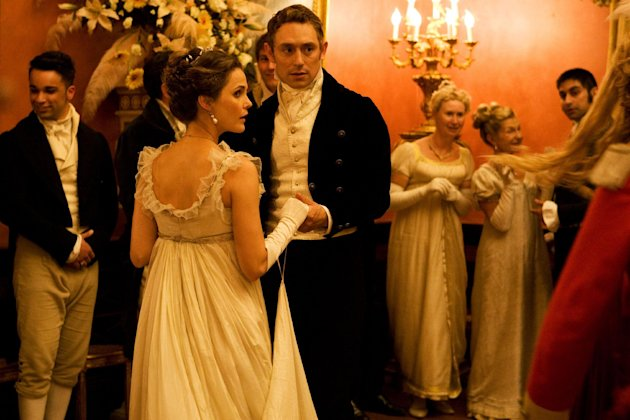 "This undated publicity photo provided by the Sundance Institute shows Keri Russell, left, and JJ Feild, in a scene from the film, ""Austenland,"" included in the U.S. Dramatic Film competition at the 2013 Sundance Film Festival. (AP Photo/Sundance Institute)"