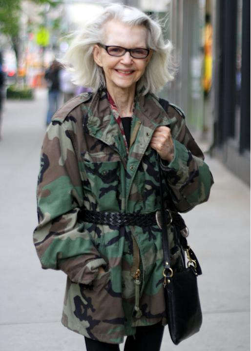 Boho belted army fatigues in New York