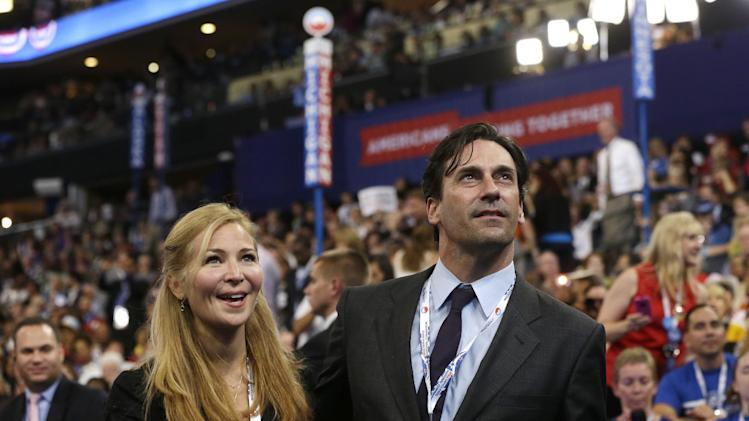 Actors Jennifer Westfeldt and Jon Hamm are seen on the floor at the Democratic National Convention in Charlotte, N.C., on Thursday, Sept. 6, 2012. (AP Photo/Charles Dharapak)