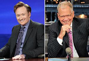 Conan O'Brien, David Letterman | Photo Credits: TBS, CBS