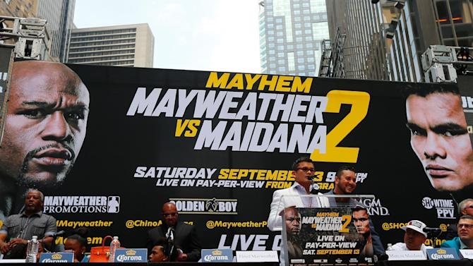 Marcos Maidana speaks to the media at the Pedestrian Walk in Times Square on July 14, 2014 in New York City