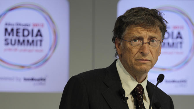 Microsoft founder and philanthropist Bill Gates speaks during the opening session of  the Abu Dhabi Media Summit in United Arab Emirates, Tuesday Oct. 9, 2012. (AP Photo/Kamran Jebreili)