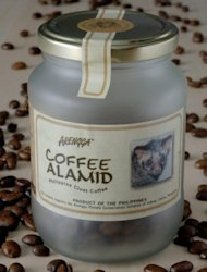 "A jar of civet cat coffee marketed under the ""Coffee Alamid"" brand is seenon display in Manila. The coffee, branded as among the rarest in the world, is naturally fermented through a civet cat's digestive tract"