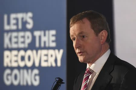 Ireland's Prime Minister Enda Kenny addresses Fine Gael candidates and supporters in Dublin