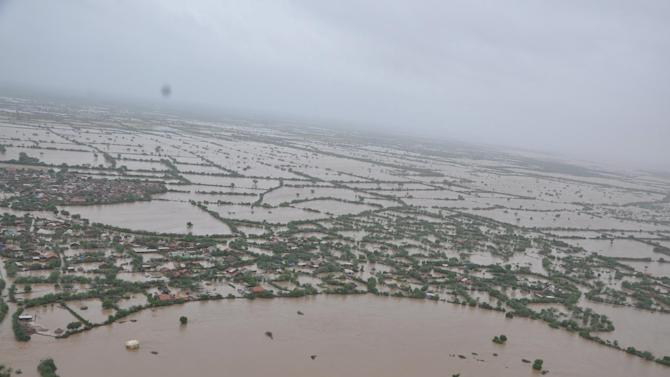 Aerial view shows flooded areas of Surendranagar district in Gujarat
