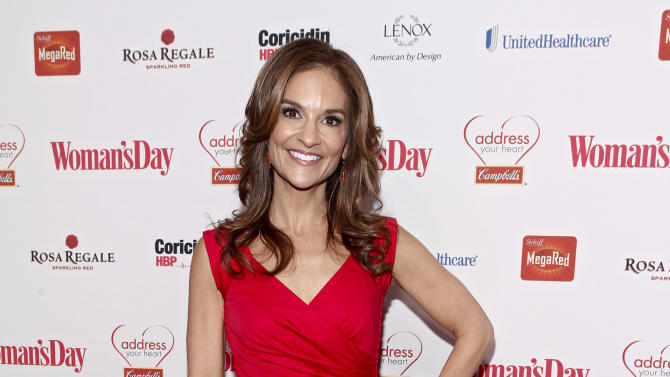 "IMAGE DISTRIBUTED FOR CAMPBELL SOUP COMPANY - Joy Bauer, one of the nation's leading health authorities and nutrition expert for NBC's TODAY show, walks the red carpet as the honoree of the ""Campbell's Healthy Heart Award"" at the Woman's Day Red Dress Awards on Tuesday, Feb. 12, 2013, in New York City. (Brian Ach/AP Images for Campbell Soup Company)"