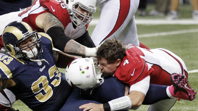 Arizona Cardinals quarterback Kevin Kolb (4) is sacked by St. Louis Rams defensive tackle Jermelle Cudjo (93) as Cardinals' Adam Snyder, top left, gets in on the play during the third quarter of an NFL football game, Thursday, Oct. 4, 2012, in St. Louis. Cudjo was charged with an unnecessary roughness penalty on the play. The Rams won 17-3. (AP Photo/Seth Perlman)