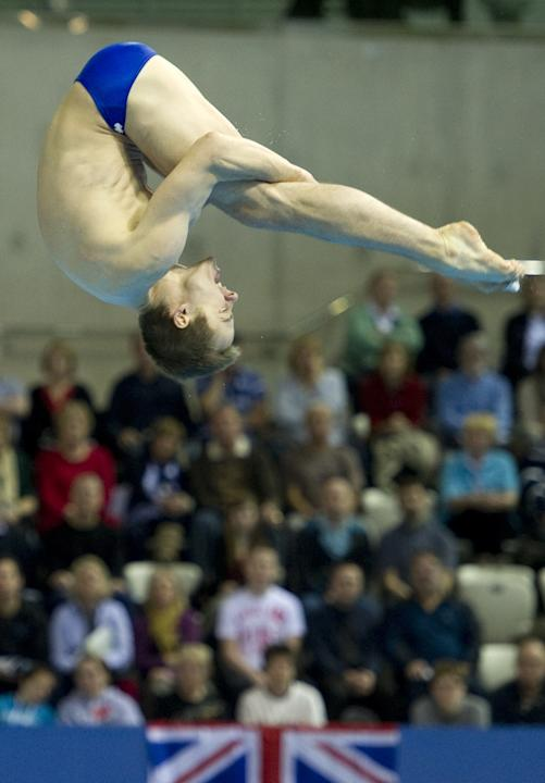 Canada's Reuben Ross competes during the men's 3m Semifinal at the FINA Diving World Cup, also doubling as a 2012 Olympics Test event, at the Olympic Aquatic Centre in east London, on February 22, 201